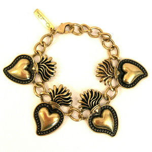 Vintage Oscar de la Renta Signed Hearts Bracelet